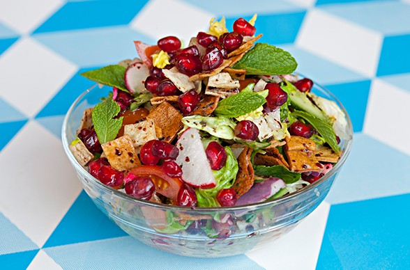Fattoush with pomegranate molasses dressing